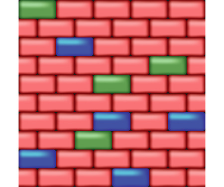 simless wall of colorfull roundish bricks