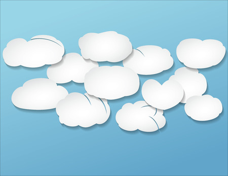 congestion white volume clouds over blue Vector