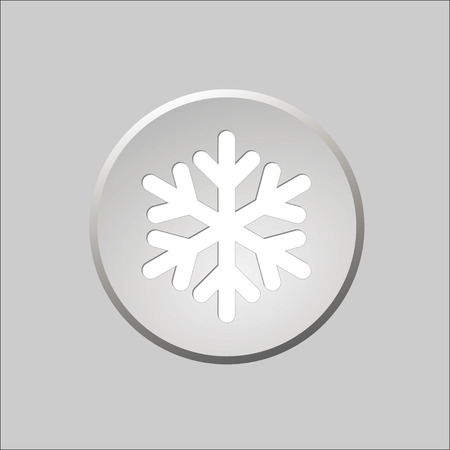 Gray round button with snowflake