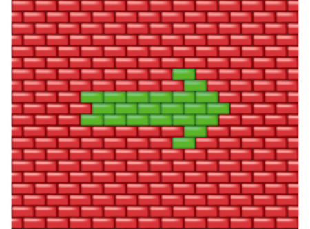 Red wall with green arrow