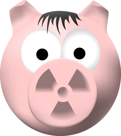Pink pig with radiation symbol on nose Vector