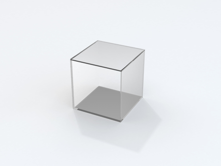 Isolated transparent glass cube with shadow over white