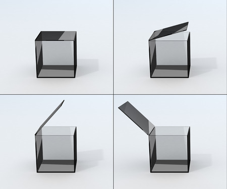three dimensional accessibility: set of  four position opening isolated glass box