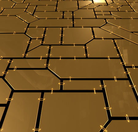 Mosaic of geometric planes with chains photo