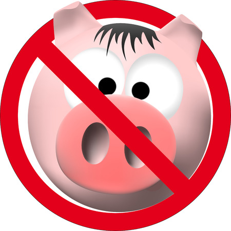 observe cleanliness sign with pink pig Vector