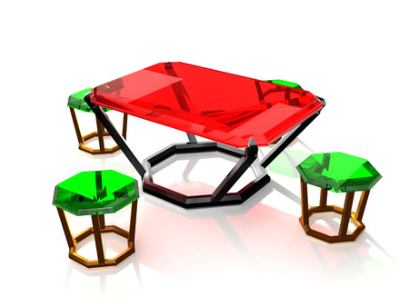 progressive art: isolated table and chairs of jewelry gems with shadow
