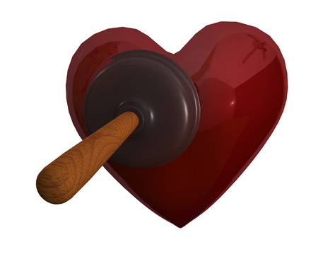 plunger: Rubber plunger and red heart Stock Photo