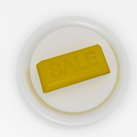 Gold brick with inscription Sale on white plate Stock Photo