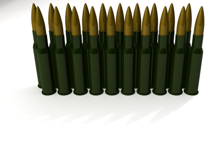 Cartridges for machine gun   on white background