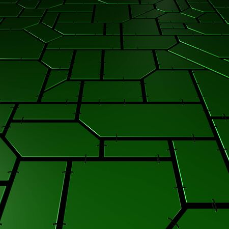 Mosaic of green geometric plates with chains Stock Photo