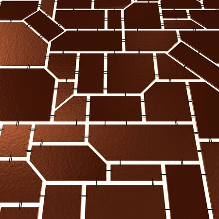 Brown tiles with chains over white