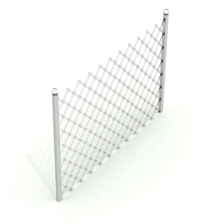 One section glass lattice in perspective over white
