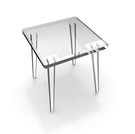 Isolated simple glass stool on white