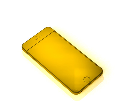 Yellow layout phone with shadow on white background