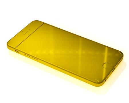 Layout gold phone on white background