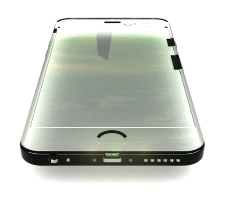 Isolated model glass phone with shadow on white Stock Photo