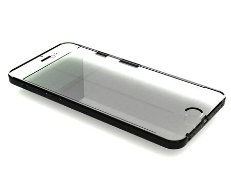 Glass model phone with shadow on white background