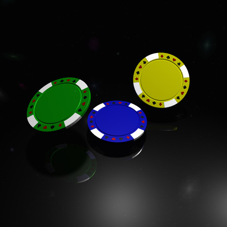 Motley poker chips with reflection on black background