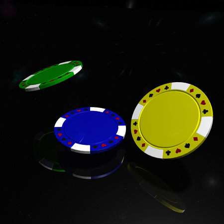 Poker chips with reflection on black table