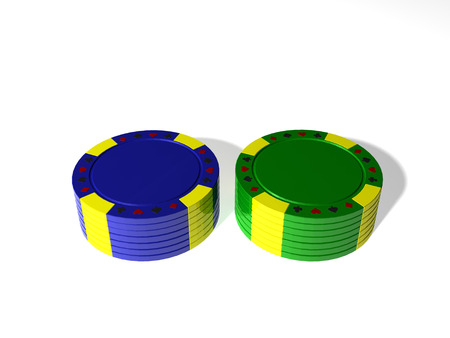 Two stack poker chips with shadow on white background