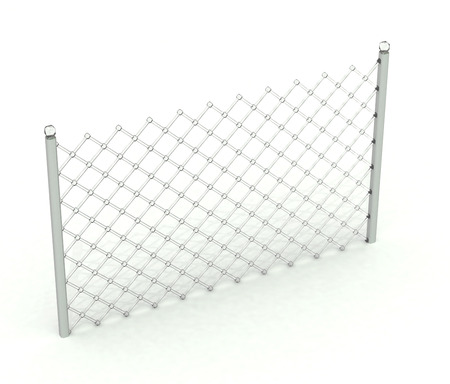 Transparent fence with shadow over white background