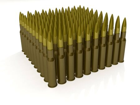 Isolated cartridges for machine gun AK-47 on white background