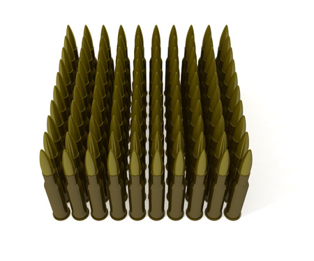 Cartridges for machine gun on white background Stock Photo