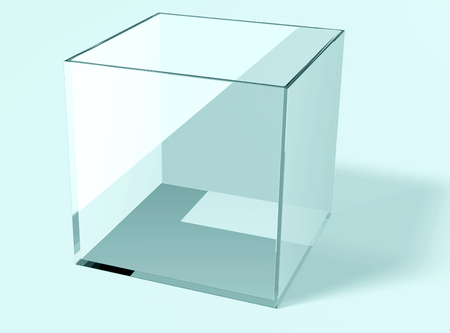 Isolatet empty blue glass cube with shadow Stock Photo