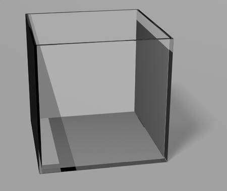Glass box over gray background Stock Photo