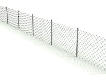 Light isolated glass fence with shadow over white background