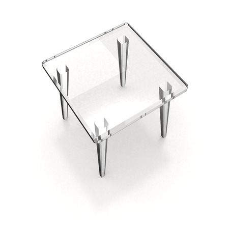 Glass stool with shadow on white background Stock Photo