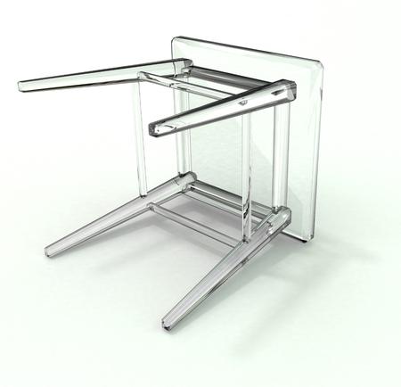 Isolated lying glass stool on white background Stock Photo