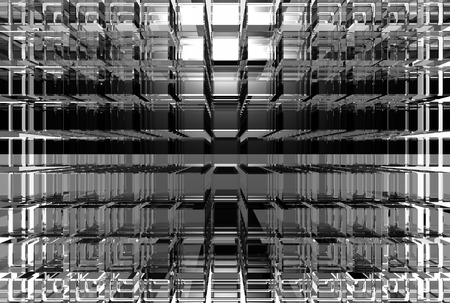 Many gray glass cubes