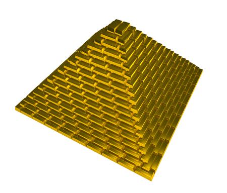Yellow gold ingots pyramid Stock Photo