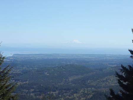 Mt. Baker behind the Strait of Juan De Fuca Stock Photo