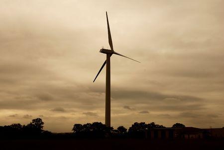 Evening shot of wind turbine. Sepia dominant color. Stock Photo - 647170