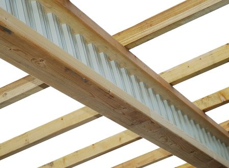 Roof frame : composite timber-steel I-beam and rafters