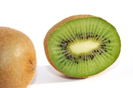 hairy pear: Close shot of a kiwifruit cut in half