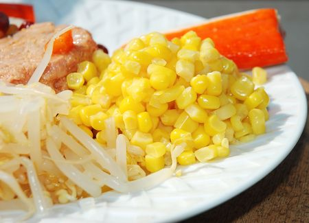 Mixed Salad : mung beans sprouts and sweet corn kernels, with surimi fish sticks and tuna in background