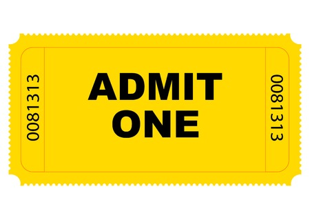 tickets: Cinema yellow entry ticket vector graphics