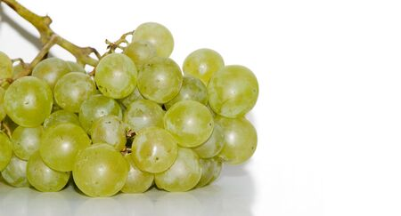 White grapes on white background Stock Photo