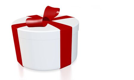 round gift box wrapped with red ribbon on white background - 3D rendering with path