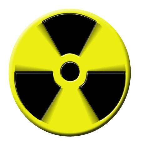 disastrous: nuclear warning sign rotating. Symbol of atomic activity risk or danger
