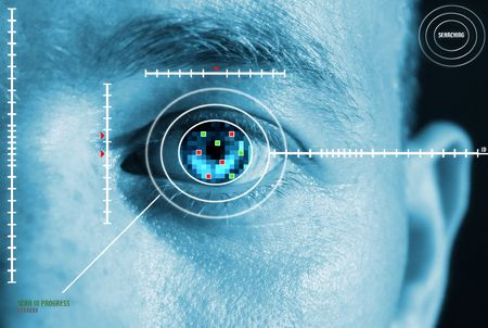 reconocimiento: esc�ner de iris para la seguridad o identificaci�n. Ojo con el esc�ner y la interfaz de la computadora
