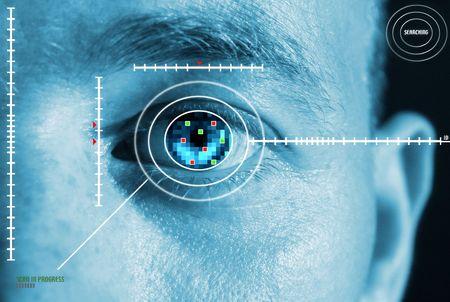 scansione dell'iride per la sicurezza o l'identificazione. Occhi con scanner e interfaccia con il computer