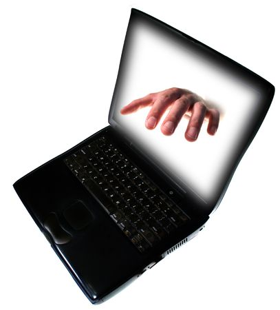 identity theft concept with hand reach out of computer isolated on white Stock Photo - 5760676