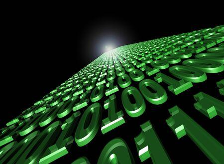 flusso binario di comunicazione dei dati. zerro e quelli galleggiano attraverso cybespace Archivio Fotografico
