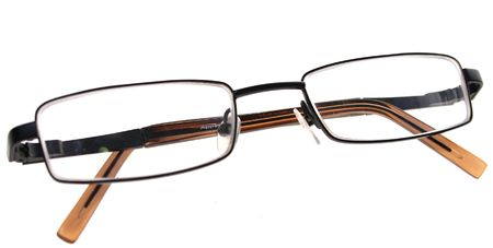 poor eyesight: pair of glasses isolated on white, symbol of intellect and knowledge