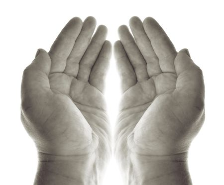 hands pray or beg for charity or blessing. hand palms in black and white recieving