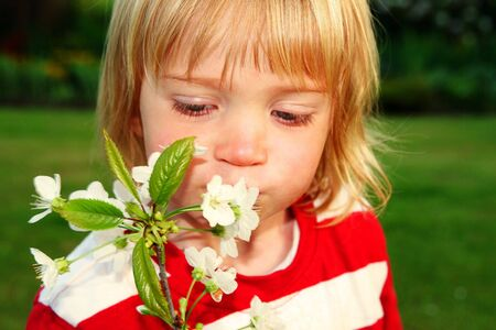 flowers boy: Child with flowers. boy in garden sunshine smelling white bloom
